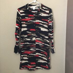 H&M green red camo tunic blouse sz 4